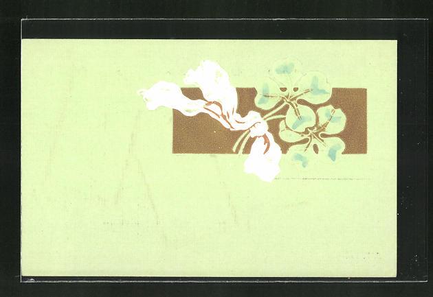 Präge-AK Kleeblätter mit einem Band, Jugendstil