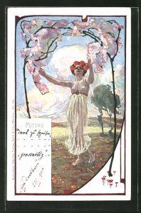 AK Barfüssige Dame im leichten Kleid tanzt auf einer Wiese, Jugendstil