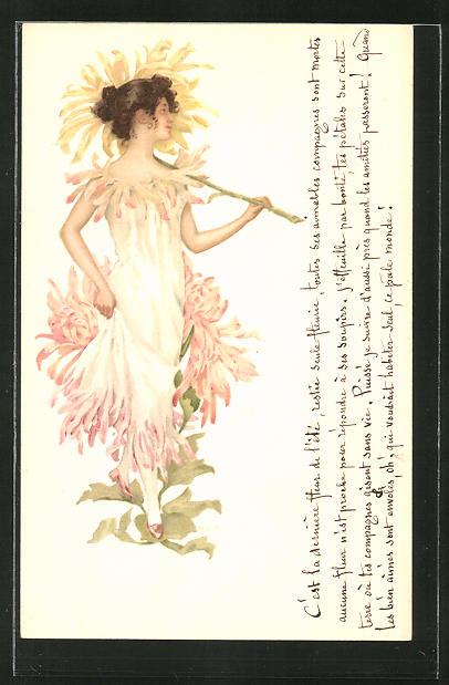 AK Junge Dame mit Blüten-Kleid und Blüten-Schirm, Jugendstil