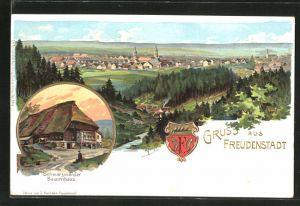 Lithographie Freudenstadt, Schwarzwälder Bauernhaus, Gesamtansicht mit Umgegend