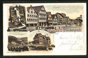 Lithographie Freudenstadt, Kurhaus Palmenwald, Christophsthal, Sankenbachfall, Marktplatz