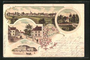 Lithographie Buchloe, Ortspartie des Kellergartens, der Marktgasse und des Bahnhofs