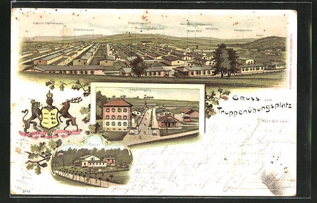 Lithographie Münsingen, Truppenübungsplatz, Lagereingang und Casino