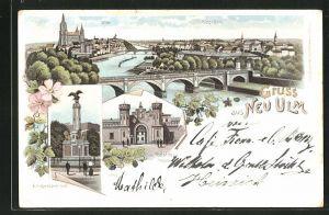Lithographie Neu-Ulm, Portal der Friedens-Kaserne, Kriegerdenkmal