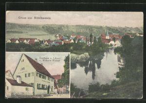 AK Mühlhausen, Gasthaus zum Löwen, Ortsansicht