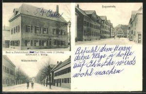 AK Ebingen i. Wttbg., Bäckerei Karl Hörz vorm. J. Lässing, Wilhelmstrasse und Eugenstrasse