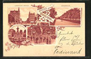 Lithographie Düsseldorf, Elberfelder Strasse, Brunnen in der Königsallee, Königsallee, Tonhallengarten