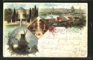 Lithographie Potsdam, Panorama vom Brauhausberge, Sanssouci, historische Mühle