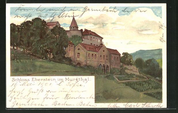 Lithographie Eberstein, Blick auf Schloss Eberstein im Murgthal