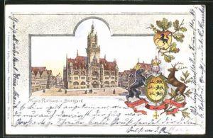 Passepartout-Lithographie Stuttgart, Neues Rathaus, Wappen