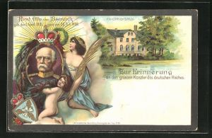 Lithographie Friedrichsruh, Portrait Fürst Otto von Bismarck, Putte & junge Dame, Wappen