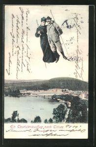 AK Titisee, Fliegende Menschen über dem Ort