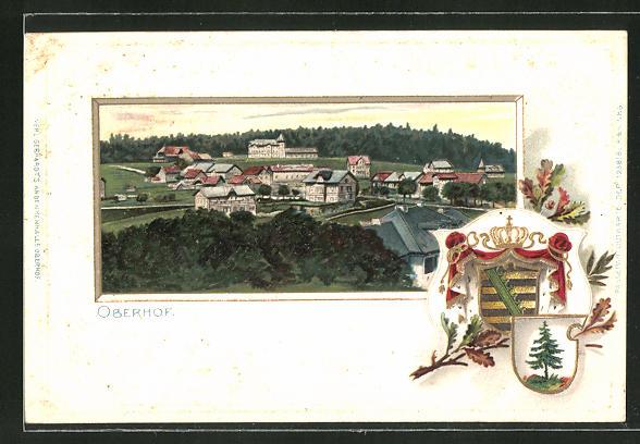 Passepartout-Lithographie Oberhof, Ortsansicht aus der Vogelschau mit Wappen