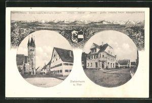Künstler-AK Eugen Felle: Dietenheim a. Iller, Hand Landthaler Geschäft, Atelier von Eugen Felle, Gebirgspanorama