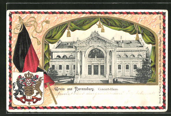Präge-Passepartout-Lithographie Ravensburg, Am Concert-Haus, Wappen mit Fahne