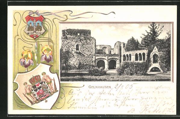 Präge-Passepartout-Lithographie Gelnhausen, Ruine d. Barbarossa Burg mit Wappen