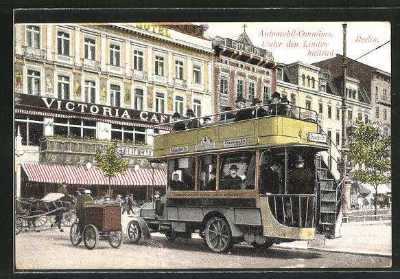 AK Berlin, Automobil-Omnibus Unter den Linden haltend