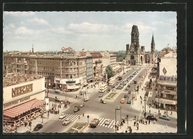 AK Berlin, Blick auf Kurfürstendamm und Gedächtniskirche