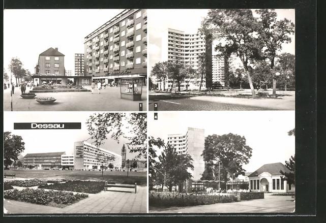 AK Dessau, Wilhelm-Pieck-Strasse, Hochhäuser am Stadtpark, HO-Gaststätte & Intim-Bar Teehäuschen im Stadtpark