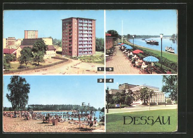 AK Dessau, am Roten Stern, Strandbad Adria, HO-Gaststätte