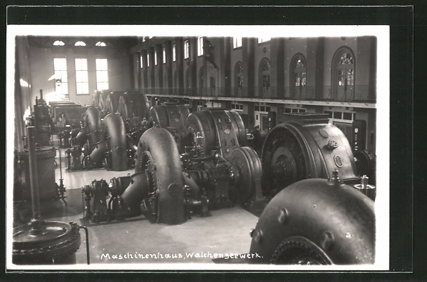 AK Walchensee, Maschinenhaus im Wasserkraftwerk, Innenansicht