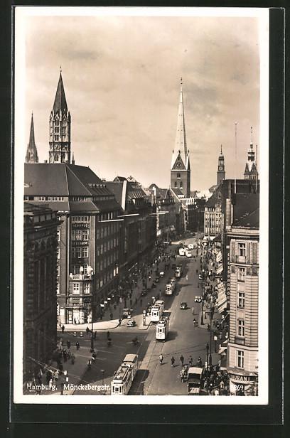 AK Hamburg, Strassenbahnen auf der Mönckebergstrasse