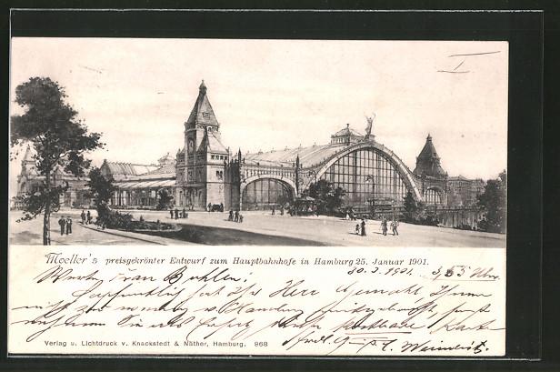 AK Hamburg-St.Georg, Moeller's preisgekrönter Entwurf zum Hauptbahnhof 25.1.1901