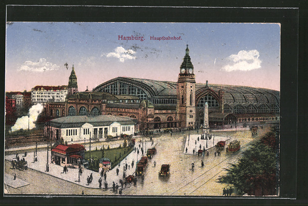 AK Hamburg-St.Georg, Strassenbahn vor dem Hauptbahnhof