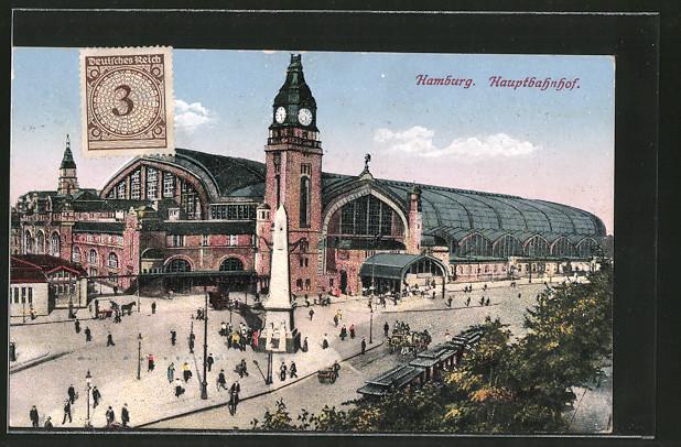 AK Hamburg-St.Georg, Gesamtansicht des Hauptbahnhofs, Strassenbahn