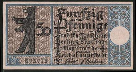 Notgeld Berlin-Plankow 1921, 50 Pfennig, Gehöft in Pankow um 1770, geprägtes Wappen