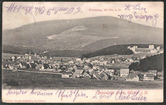 AK Braunlage, Ortsansicht mit Wurmberg