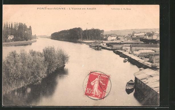 AK Pont-sur-Yonne, l'Yonne en amont