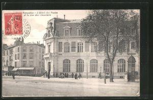 AK Versailles, l'hôtel des postes et la rue des Chantiers