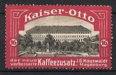 Reklamemarke Magdeburg, Kaiser Otto Kaffee, J.G. Hauswaldt, Schloss Friedenstein zu Gotha