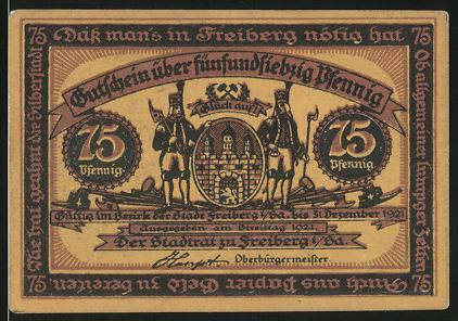 Notgeld Freiberg 1921, 75 Pfennig, Bergleute & Wappen, Familie verabschiedet Bergmann zu Arbeit