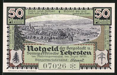 Notgeld Lehesten 1921, 50 Pfennig, Gesamtansicht, Wappen, Tanne, Grenzstein