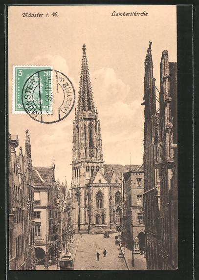 AK Münster, Partie an der Lambertikirche mit Strassenbahn