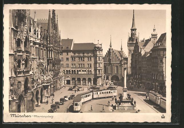 AK München, Strassenbahn auf dem Marienplatz