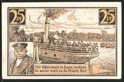 Notgeld Fürstenberg, 1921, 25 Pfennig, Wappen, Passagierschiff