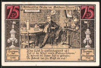 Notgeld Fürstenberg, 1921, 75 Pfennig, Wappen, Altdeutsche Stube im Goldenen Löwen