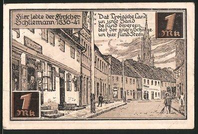 Notgeld Fürstenberg, 1921, 1 Mark, Wappen, Strassenpartie