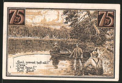Notgeld Fürstenberg, 1921, 75 Pfennig, Wappen, Angler-Partie auf dem See