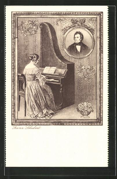 AK Franz Schubert, Portrait und Klavierspielerin