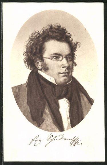 Künstler-AK Franz Schubert, Portrait mit Schal und Brille