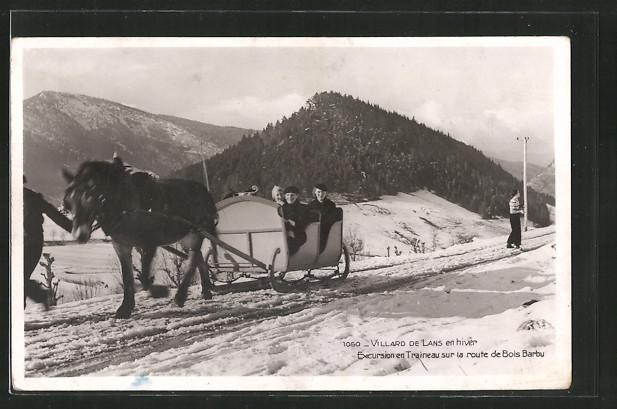 AK Villard-de-Lans, Excursion en Traineau sur la route de Bois Barbu, Pferdeschlitten
