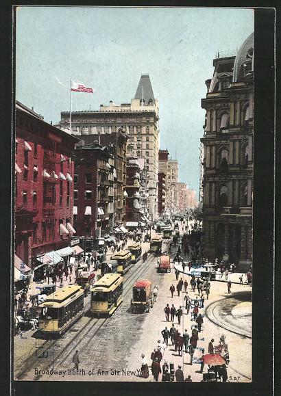 AK New York, Broadway North of Ann Street, Strassenbahnen