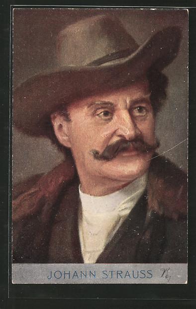 Künstler-AK Komponist Johann Strauss mit Hut