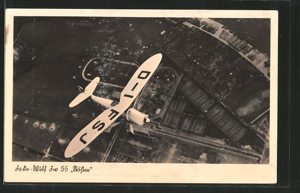 AK Focke-Wulf Fw 56 Stösser über Ortschaft, Kennung D-IFSJ