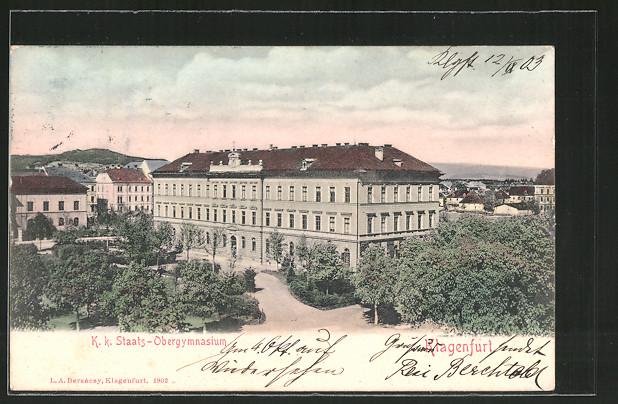AK Klagenfurt, K.k. Staats-Obergymnasium