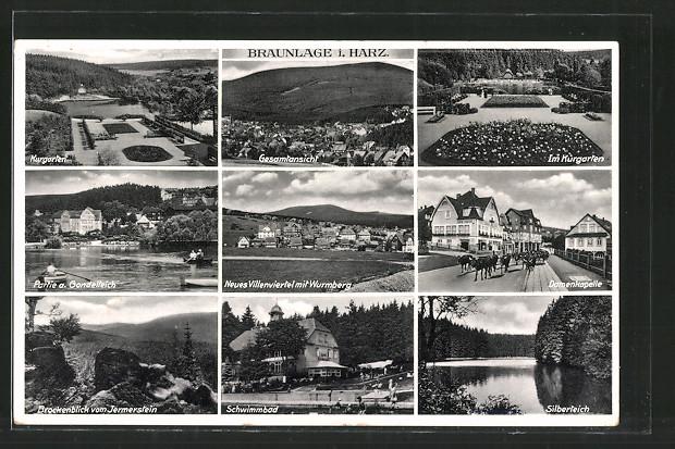 AK Braunlage, Schwimmbad, Kurgarten, Neues Villenviertel mit Wurmberg